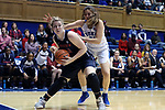 DURHAM, NC - DECEMBER 29: Liberty's Molly Reagan (left) steals the ball from Duke's Bego Faz Davalos (MEX) (21). The Duke University Blue Devils hosted the Liberty University Flames on December 29, 2017 at Cameron Indoor Stadium in Durham, NC in a Division I women's college basketball game. Duke won the game 68-51.