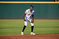 Bradenton Marauders shortstop Oneil Cruz (13) during a Florida State League game against the Fort Myers Miracle on April 23, 2019 at LECOM Park in Bradenton, Florida.  Fort Myers defeated Bradenton 2-1.  (Mike Janes/Four Seam Images)