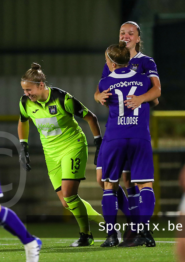 20190920 – LEUVEN, BELGIUM : RSC Anderlecht's  Tine De Caigny is celebrating her goal with Laura Deloose (14) and Justien Odeurs (13) during a women soccer game between Dames Oud Heverlee Leuven A and RSC Anderlecht Ladies on the fourth matchday of the Belgian Superleague season 2019-2020 , the Belgian women's football  top division , friday 20 th September 2019 at the Stadion Oud-Heverlee Korbeekdam in Oud Heverlee  , Belgium  .  PHOTO SPORTPIX.BE | SEVIL OKTEM