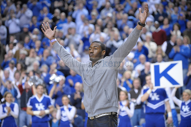 "Former UK player John Wall is the ""Y"" during the second half of the University of Kentucky Men's basketball game against Tennessee at Rupp Arena in Lexington, Ky., on 2/8/11. Uk won the game 73-61. Photo by Mike Weaver 