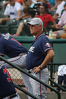 Rome Braves manager Randy Ingle #12 in the dugout during a game vs. the Charleston Riverdogs at Joseph P. Riley Jr. Ballpark in Charleston, South Carolina on June 6, 2010.   Charleston defeated Rome by the score of 4-2.  Photo By Robert Gurganus/Four Seam Images