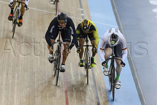 06.03.2016. Lee Valley Velo Centre, London England. UCI Track Cycling World Championships Mens Keirin final.   EILERS Joachim (GER) - DAWKINS Edward (NZL) - AWANG Azizulhasni (MAS)