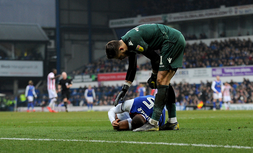 Stoke City's Jack Butland checking on Ipswich Town's Collin Quaner<br /> <br /> Photographer Hannah Fountain/CameraSport<br /> <br /> The EFL Sky Bet Championship - Ipswich Town v Stoke City - Saturday 16th February 2019 - Portman Road - Ipswich<br /> <br /> World Copyright © 2019 CameraSport. All rights reserved. 43 Linden Ave. Countesthorpe. Leicester. England. LE8 5PG - Tel: +44 (0) 116 277 4147 - admin@camerasport.com - www.camerasport.com