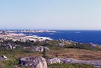 Peggys Cove (Peggy's Cove), NS, Nova Scotia, Canada - Rugged East Coast / Coastline at St. Margarets Bay (Atlantic Ocean) - Peggys Point Lighthouse in Distance