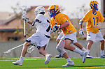 Los Angeles, CA 02-26-17 - Jimmy Barlupo (UCSB #5) and Givino Rossini (Loyola Marymount #7) in action during the MCLA conference game between LMU and UC Santa Barbara.  Santa Barbara defeated LMU 15-0.