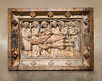 Gothic marble relief sculpture from the tomb of Ramon d'Urtx, died 1290, from the convent of Sant Domenee de Puigcerda, Cerdanya, Spain..  National Museum of Catalan Art, Barcelona, Spain, inv no: MNAC  64011.