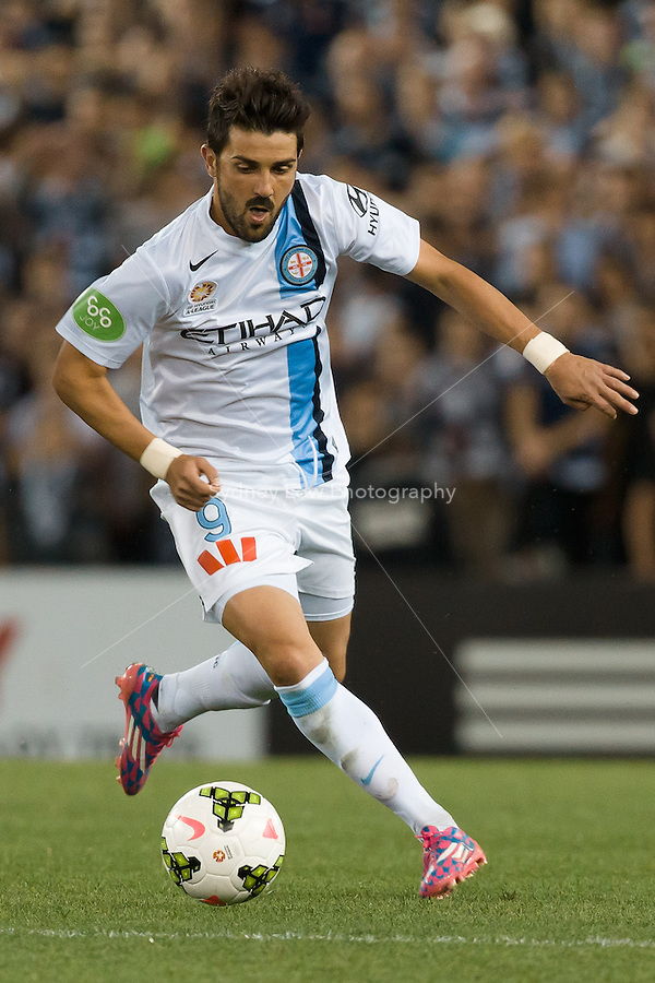 MELBOURNE 25 Oct 2014 – Spanish player David VILLA of Melbourne City controls the ball in the round 3 match between Melbourne Victory and Melbourne City in the Australian Hyundai A-League 2014-15 season at Etihad Stadium, Melbourne, Australia.