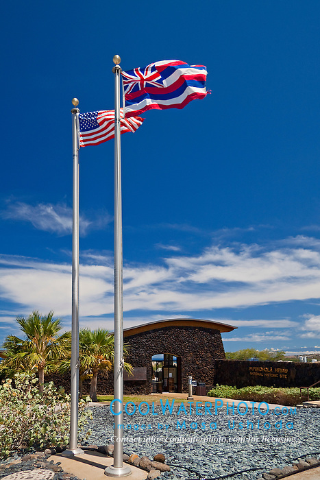 flags of the United States of America and the State of Hawaii at the entrance of Puukohola Heiau National Historic Site, Kawaihae, Kohala, Big Island, Hawaii, USA