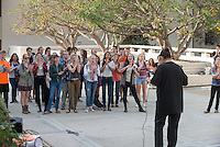 Occidental College students march in a rally organized by Fossil Free Occidental on Nov. 14, 2014. The group hopes to end Oxy's reliance on fossil fuels by freezing all investments in the 200 largest fossil-fuel companies (measured by their proven carbon reserves in oil, gas or coal) and over the next five to ten years sell the stock in these same companies, and then reinvest 5%, at minimum, of the divested portfolio in socially responsible investments. (Photo by Marc Campos, Occidental College Photographer)