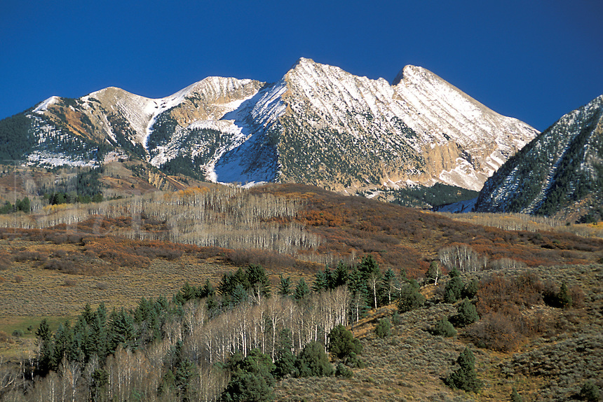 First snow fall on the high rocky peaks of the Elk Mountains, Gunnison National Forest, Colorado.