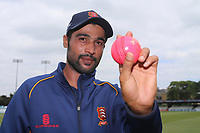 New Essex signing Mohammad Amir is poses for a photograph with the pink day/night ball during Essex CCC vs Warwickshire CCC, Specsavers County Championship Division 1 Cricket at The Cloudfm County Ground on 22nd June 2017