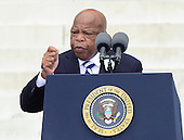 United States Representative John Lewis (Democrat of Georgia), the last surviving speaker at the March in 1963, makes remarks at the Let Freedom Ring ceremony on the steps of the Lincoln Memorial to commemorate the 50th Anniversary of the March on Washington for Jobs and Freedom<br /> Credit: Ron Sachs / CNP