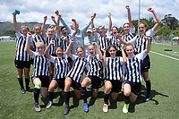 Northern celebrate winning their division after the 2019 National Age Group Tournament Under-16 Girls football match between Northern and Capital at Memorial Park in Petone, Wellington, New Zealand on Sunday, 15 December 2019. Photo: Dave Lintott / lintottphoto.co.nz