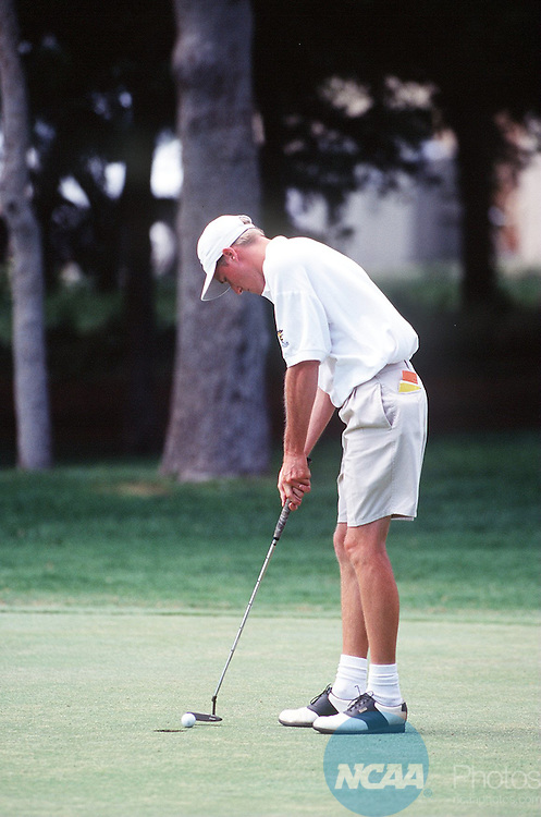 Caption: 24 MAY 1996: Cory Stone of Cameron concentrates on his putt during the Division 2 Men's Golf Championship hosted by Central Oklahoma State University at the Oak Tree Country Club in Edmond, OK. Stone placed sixth in the individual competition with a total score of 294. Lisa Rudy Hoke/NCAA Photos.