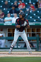 Luis Arraez (9) of the Rochester Red Wings at bat against the Charlotte Knights at BB&T BallPark on May 14, 2019 in Charlotte, North Carolina. The Knights defeated the Red Wings 13-7. (Brian Westerholt/Four Seam Images)