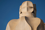 Chimney Pots of Pedrera House by Gaudi in Barcelona, Catalonia, Spain