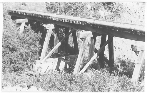 Close up partial view of bridge 18-D post abandonment.<br /> RGS  near Wade, CO  Taken by Maxwell, John W. - 9/4/1960