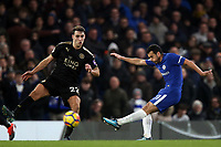 Matthew James of Leicester city and Pedro of Chelsea during Chelsea vs Leicester City, Premier League Football at Stamford Bridge on 13th January 2018