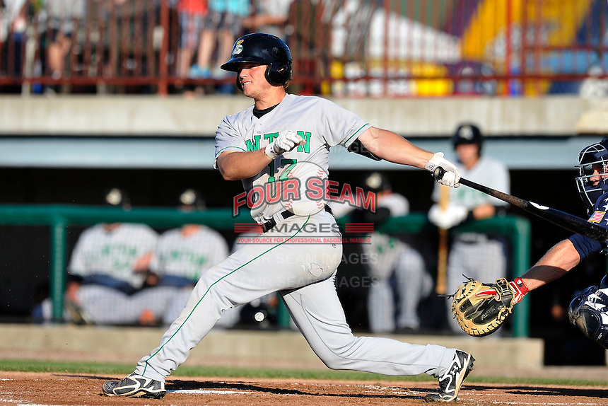 Justin Seager #17 of the Clinton LumberKings swings against the Burlington Bees at Community Field  on July 3, 2014 in Burlington, Iowa. The LumberKings beat the Bees 6-5.   (Dennis Hubbard/Four Seam Images)