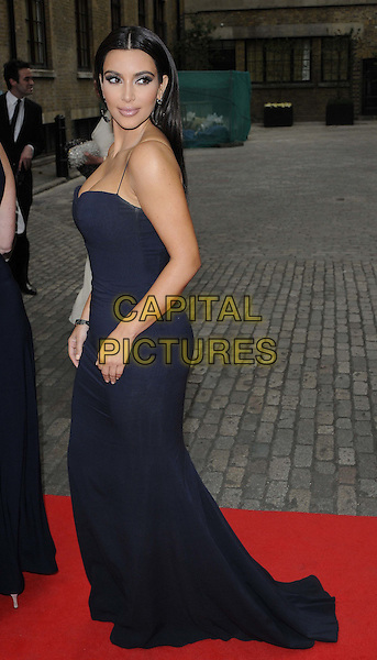 Kim Kardashian.The FiFi UK Fragrance Awards 2012 at The Brewery, Chiswell Street, London, England..May 17th 2012.full length blue black dress maxi  side .CAP/CAN.©Can Nguyen/Capital Pictures.