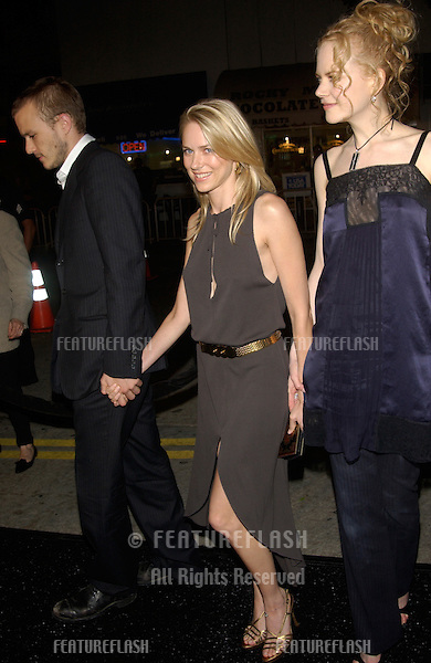 Actress NICOLE KIDMAN (right) with actor HEATH LEDGER & actress girlfriend NAOMI WATTS at the premiere, in Los Angeles, of Watts' new movie The Ring..09OCT2002.  © Paul Smith / Featureflash