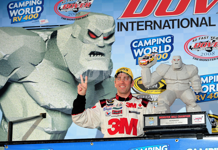 Sept. 21, 2008; Dover, DE, USA; Nascar Sprint Cup Series driver Greg Biffle in victory lane after winning the Camping World RV 400 at Dover International Speedway. Mandatory Credit: Mark J. Rebilas-