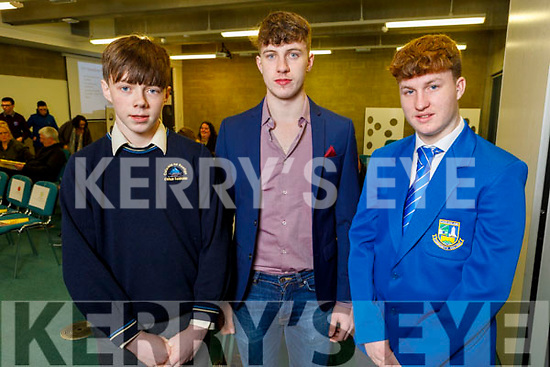 Students who received awards at the Kerry ETB Student Awards ceremony in the IT Tralee on Friday night. <br /> L to r: Darragh Devlin (Junior Cert Academic Award, Colaiste na Sceilge), Greg Curran (Technoloy Excellence, Castleisland Community College) and Alan Joy (Involvement in Junior Cert, Castleisland Community College).