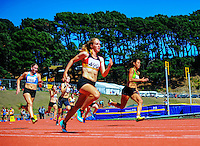Taranaki's Zoe Hobbs (right) competes in the junior women's 200m final on day three of the 2015 National Track and Field Championships at Newtown Park, Wellington, New Zealand on Sunday, 8 March 2015. Photo: Dave Lintott / lintottphoto.co.nz