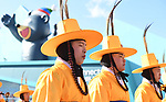 Korean marching band. Around the Gangneung Olympic park. Pyeongchang2018 winter Olympics. Gangneung. Republic of Korea. 12/02/2018. ~ MANDATORY CREDIT Garry Bowden/SIPPA - NO UNAUTHORISED USE - +44 7837 394578