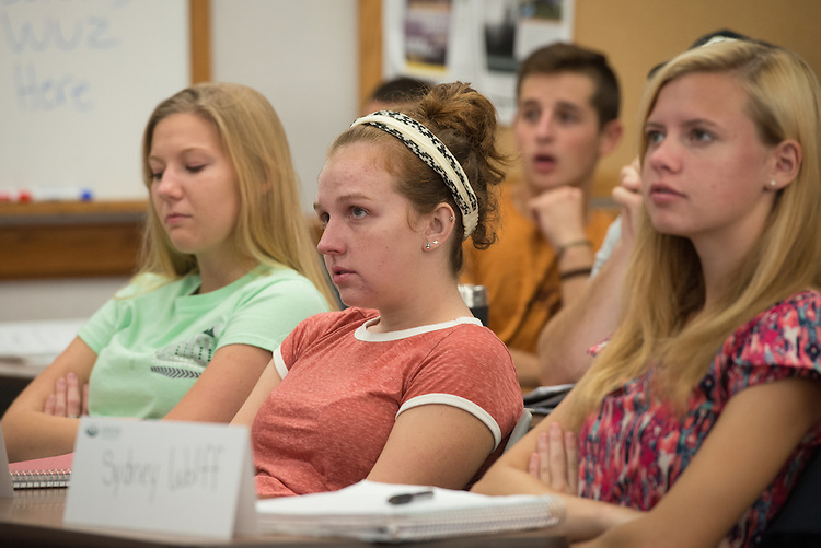From right, Sydney Wolff, Natalie Howard and Sara Petrie attend their honors class taught by the Associate Director of the College of Business Honors Program, Tom Marchese, at the Ohio University College of Business in Copeland Hall on Tuesday, September 20, 2016.