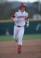 NWA Democrat-Gazette/ANDY SHUPE<br />Arkansas right fielder Eric Cole rounds the bases after hitting a 3-run home run against Kent State Friday, March 9, 2018, during the fourth inning at Baum Stadium in Fayetteville. Visit nwadg.com/photos to see more photographs from the game.
