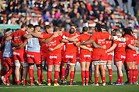 The Toulon team huddle together during the pre-match warm-up. European Rugby Champions Cup match, between RC Toulon and Bath Rugby on January 10, 2016 at the Stade Mayol in Toulon, France. Photo by: Patrick Khachfe / Onside Images