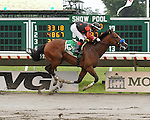 Light's Gone Wild and jockey Orlando Bocachica won the 7th race at Monmouth Park on Saturday July 9, 2016.  Light's Gone Wild is trained by Chuck Spina.  Photo By Bill Denver/EQUI-PHOTO.