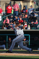 Adolfo Reina (21) of the Lake Elsinore Storm bats during a game against the Lancaster JetHawks at The Hanger on May 9, 2015 in Lancaster, California. Lancaster defeated Lake Elsinore, 3-1. (Larry Goren/Four Seam Images)