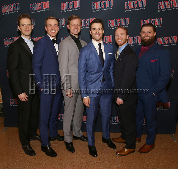 Joe Carroll, Geoff Packard, James Nathan Hopkins, Corey Cott, Alex Bender and Brandon J. Ellis  attends the Broadway Opening Night After Party of 'Bandstand' at the Edison Ballroom on 4/26/2017 in New York City.
