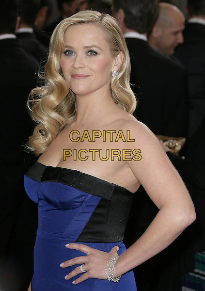 Reese Witherspoon (wearing Louis Vuitton).85th Annual Academy Awards held at the Dolby Theatre at Hollywood & Highland Center, Hollywood, California, USA..February 24th, 2013.oscars half length dress hand on hip black strapless cobalt blue diamond bracelet.CAP/ADM.©AdMedia/Capital Pictures.