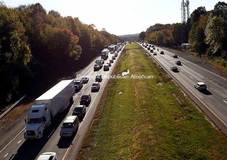 Middlebury, CT- 05 October 2014-100514CM15-  Traffic slows on the east bound lane on I-84 in Middlebury on Sunday.  Several accidents near the South Street bridge tied up traffic for miles.    Christopher Massa Republican-American