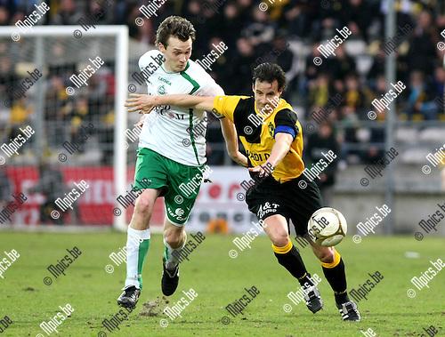 2010-03-20 / Voetbal / seizoen 2009-2010 / K. Lierse SK - KVSK United / Sam Vanaken (L) met Garry De Graef (Lierse)..Foto: Mpics
