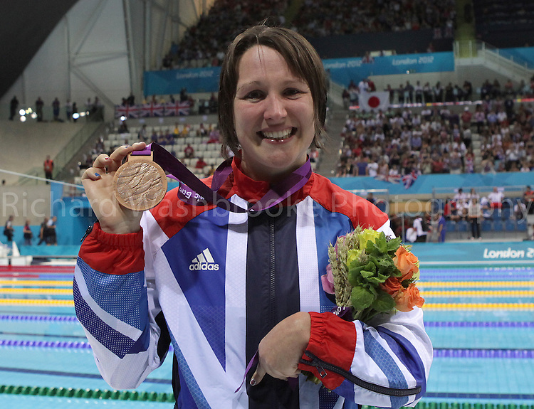 Paralympics London 2012 - ParalympicsGB - Swimming held at the Aquatic Centre 3rd September 2012  .Natalie Jones celebrates after winning Bronze after competing in the Women's 200m IM - SM6 Final at the Paralympic Games in London. .Photo: Richard Washbrooke/ParalympicsGB