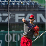 28 May 2016: Washington Nationals outfielder Bryce Harper warms up prior to facing the St. Louis Cardinals at Nationals Park in Washington, DC. The Cardinals defeated the Nationals 9-4 to take a 2-games to 1 lead in their 4-game series. Mandatory Credit: Ed Wolfstein Photo *** RAW (NEF) Image File Available ***