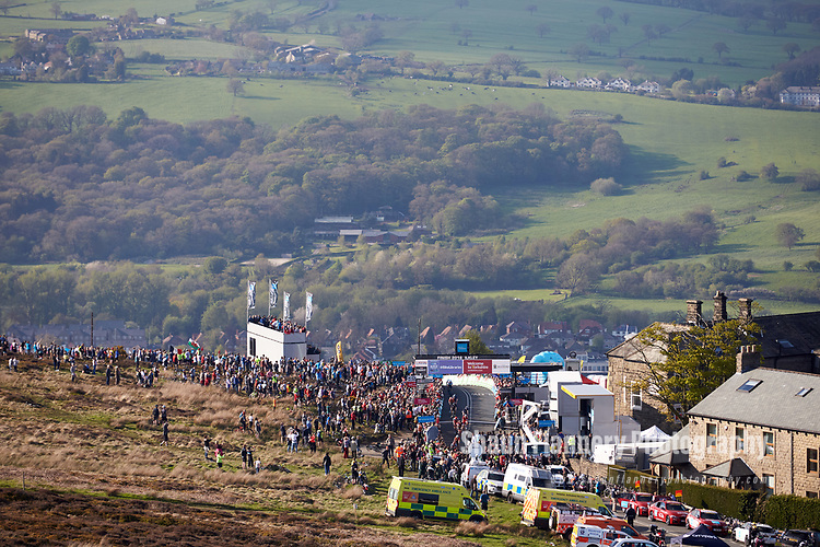 Picture by Shaun Flannery/SWpix.com - 04/05/2018 - Cycling - 2018 Tour de Yorkshire - Stage 2: Barnsley to Ilkley - Yorkshire, England -<br /> <br /> Summit of the Cote de Cow and Calf