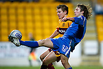 St Johnstone v Motherwell....26.01.11  .Stevie May and Steven Saunders.Picture by Graeme Hart..Copyright Perthshire Picture Agency.Tel: 01738 623350  Mobile: 07990 594431
