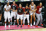 DALLAS, TX - APRIL 2: Members of the South Carolina Gamecocks cheer during the 2017 Women's Final Four at American Airlines Center on April 2, 2017 in Dallas, Texas. (Photo by Timothy Nwachukwu/NCAA Photos via Getty Images)