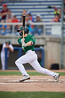 Beloit Snappers shortstop Nick Allen (2) follows through on a swing during a game against the Dayton Dragons on July 22, 2018 at Pohlman Field in Beloit, Wisconsin.  Dayton defeated Beloit 2-1.  (Mike Janes/Four Seam Images)