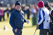 5th October 2017, The Old Course, St Andrews, Scotland; Alfred Dunhill Links Championship, first round; Sir Anthony McCoy jokes with his caddy
