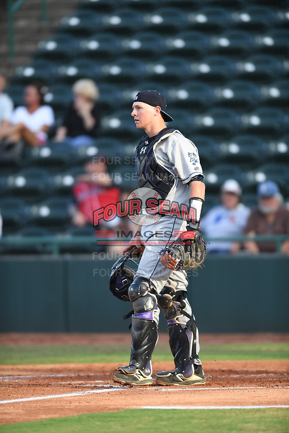 Asheville Tourists catcher Willie MacIver (23) on defense during a game against the Hickory Crawdads at L.P. Frans Stadium on May 8, 2019 in Hickory, North Carolina. The Tourists defeated the Crawdads 7-6. (Tracy Proffitt/Four Seam Images)