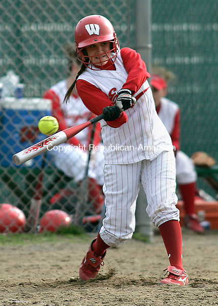 WATERBURY, CT - 26 APRIL 2007 - 042607JW06.jpg -- Wolcott #19 Brittany Bosse bats during Wolcott's win over Sacred Heart 18-0 at Municipal Stadium Thursday afternoon. Jonathan Wilcox Republican-American