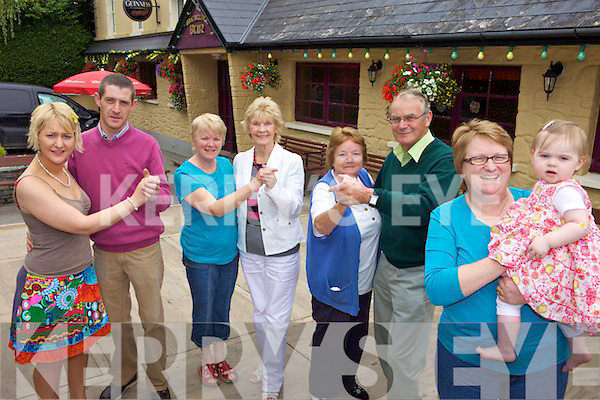 STEP IT OUT: Getting into the spirit of the crossroads dancing at McCarthy's Bar in Finuge this week were, l-r: Caitriona McCarthy, Liam Nolan, Kathleen Coyne, Eileen Worster, Liz McDonnell, Roger Worster, Mary McCarthy, Lucy Kate McEnery.