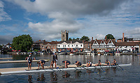 Henley-on-Thames. United Kingdom.  University Of California, Berkley, boating for their morning heat in the Temple Challenge Cup Henley Royal Regatta, Henley Reach, River Thames. <br /> <br /> <br /> 08:57:01  Friday  30/06/2017   <br /> <br /> [Mandatory Credit. Peter SPURRIER/Intersport Images.