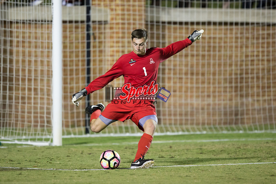 Jake Chasteen (1) of the Appalachian State Mountaineers takes a goal kick during second half action against the Wake Forest Demon Deacons at Spry Soccer Stadium on September 6, 2016 in Winston-Salem, North Carolina.  The Demon Deacons defeated the Mountaineers 3-0.   (Brian Westerholt/Sports On Film)